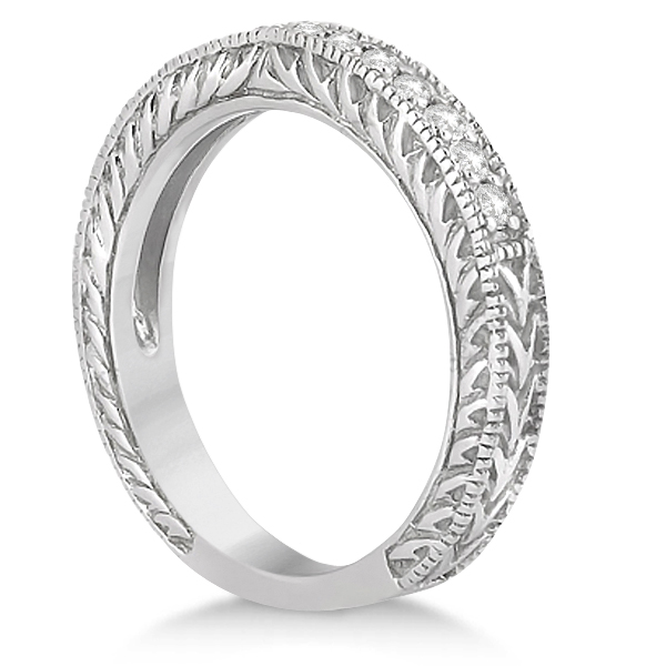 Vintage Style Filigree Diamond Wedding Band Platinum (0.19ct)