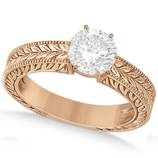 Vintage Carved Filigree Solitaire Engagement Ring 14k Rose Gold