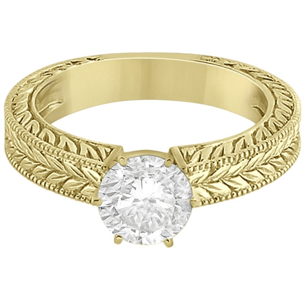 Vintage Carved Filigree Solitaire Engagement Ring in 14k Yellow Gold