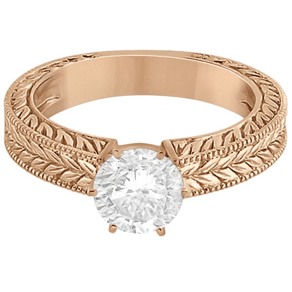 Vintage Carved Filigree Solitaire Engagement Ring in 18k Rose Gold