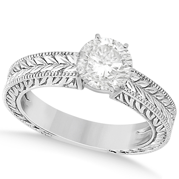 Vintage Carved Filigree Solitaire Engagement Ring in 18k White Gold