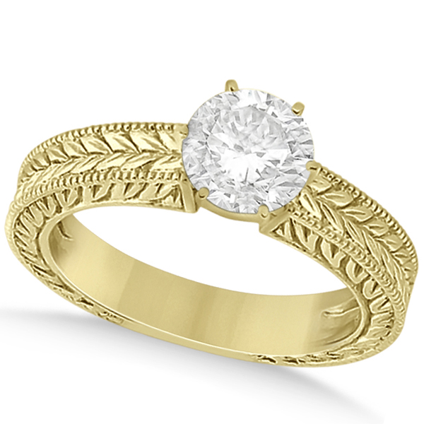 Vintage Carved Filigree Solitaire Engagement Ring in 18k Yellow Gold
