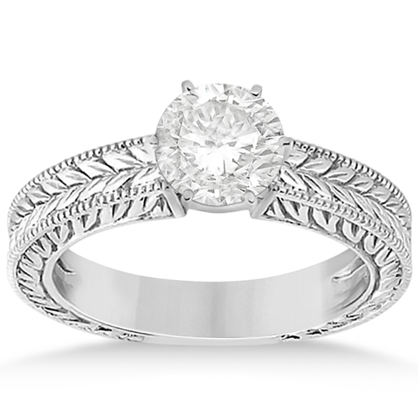 Vintage Carved Filigree Solitaire Engagement Ring in Platinum