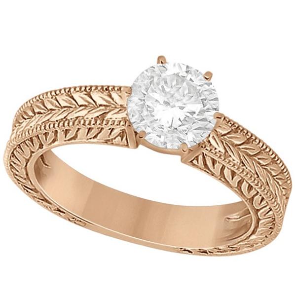 Vintage Carved Filigree Solitaire Bridal Set in 18k Rose Gold
