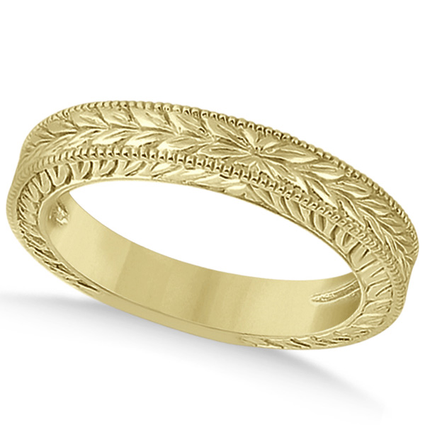 Vintage Carved Filigree Leaf Design Wedding Band in 14k Yellow Gold