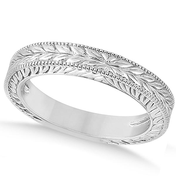 Vintage Carved Filigree Leaf Design Wedding Band In 18k White Gold