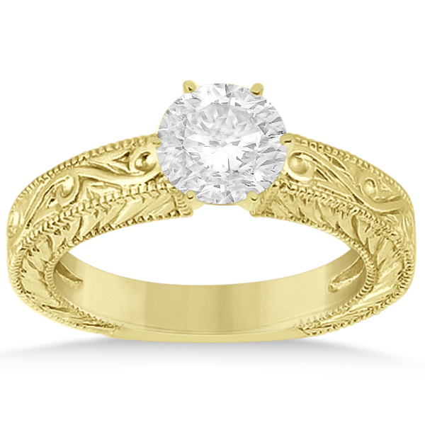 Filigree Designed Solitaire Engagement Ring Setting 18K Yellow Gold