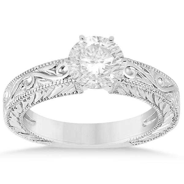 Filigree Designed Solitaire Engagement Ring Setting in Platinum
