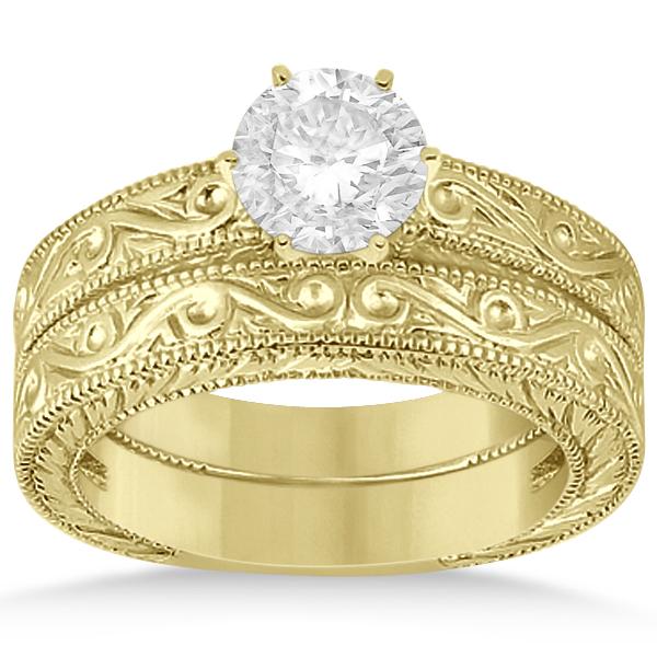 Classic Filigree Designed Solitaire Bridal Set 14K Yellow Gold