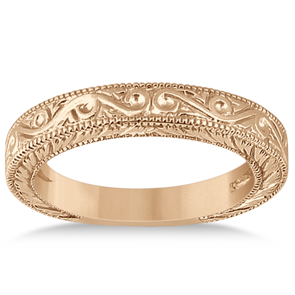 Women's Unique Filigree Wedding Band w/ Milgrain Edge 14k Rose Gold