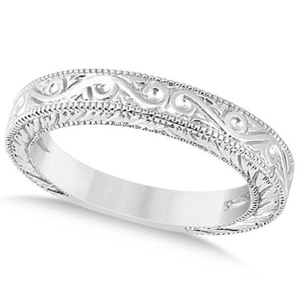 Women's Unique Filigree Wedding Band w/ Milgrain Edge 14k White Gold
