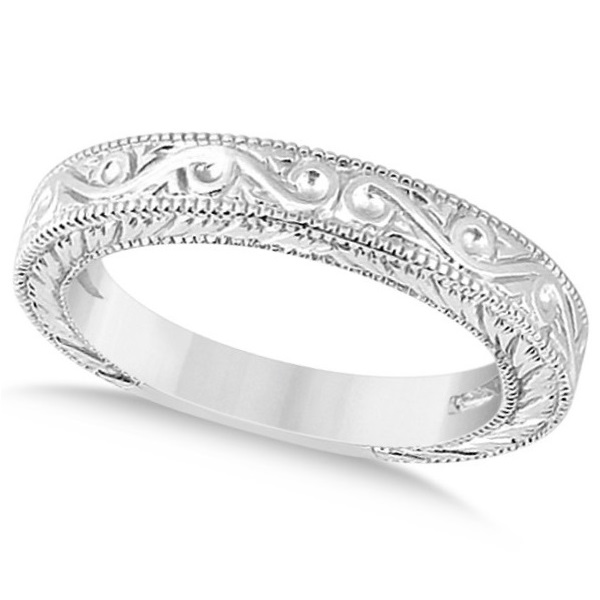 Women's Unique Filigree Wedding Band w/ Milgrain Edge 18k White Gold
