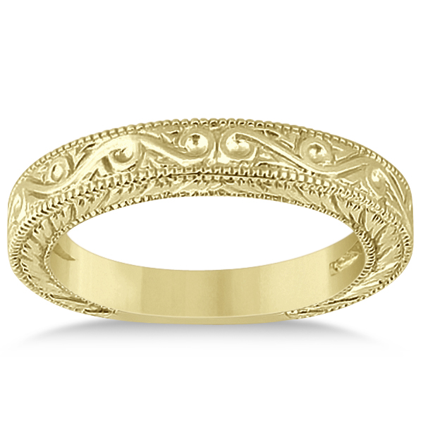 Women's Unique Filigree Wedding Band w/ Milgrain Edge 18k Yellow Gold