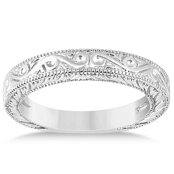 Women's Unique Filigree Wedding Band w/ Milgrain Edge in Platinum