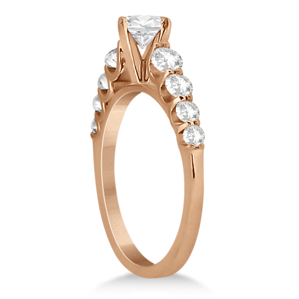 Graduated Diamond Accented Engagement Ring 18k Rose Gold (0.50ct)
