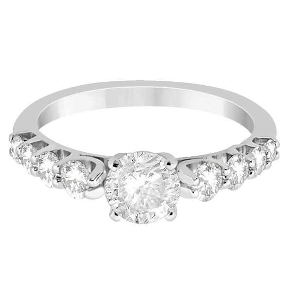 Graduated Diamond Accented Engagement Ring 18k White Gold (0.50ct)