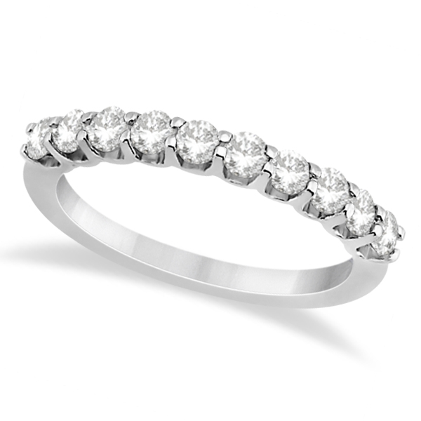 Prong Set Diamond Accented Wedding Band 14K White Gold (0.50ct)