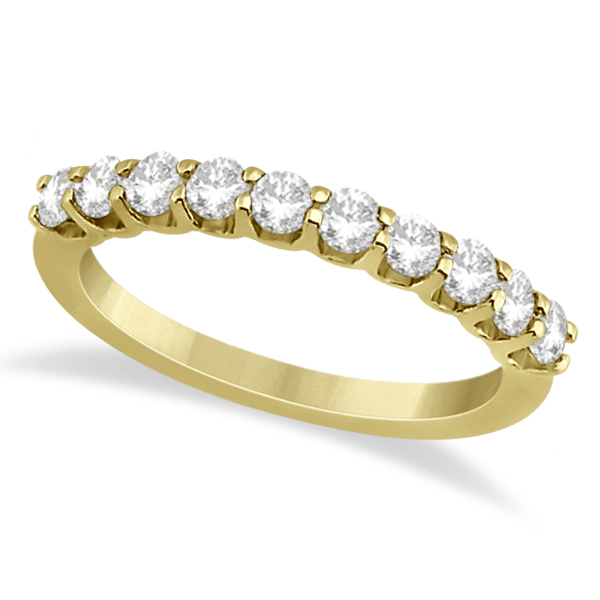 Prong Set Diamond Accented Wedding Band 14K Yellow Gold (0.50ct)