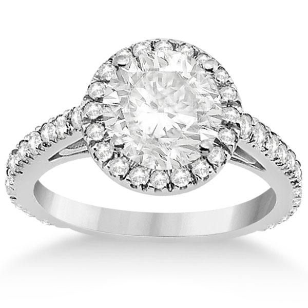 Eternity Pave Halo Diamond Engagement Ring  14K White Gold (0.72ct)