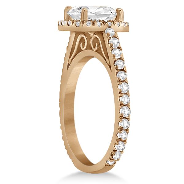 Eternity Pave Halo Diamond Engagement Ring 18K Rose Gold (0.72ct)