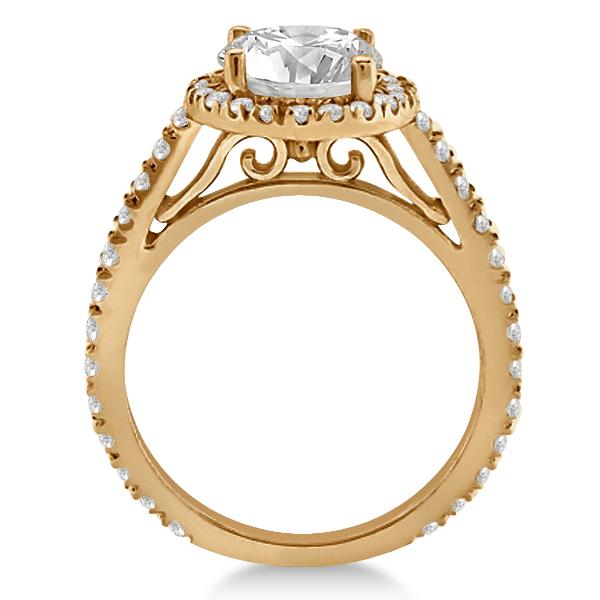 Diamond Bridal Halo Engagement Ring & Wedding Band 14K Rose Gold (1.30ct)