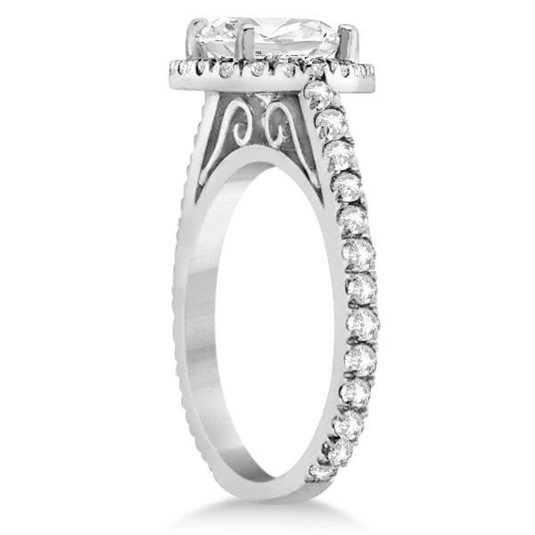 Diamond Bridal Halo Engagement Ring & Wedding Band 14K White Gold (1.30ct)
