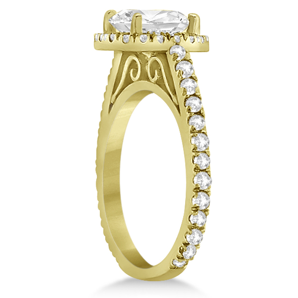 Diamond Bridal Halo Engagement Ring & Eternity Band 14K Yellow Gold (1.30ct)
