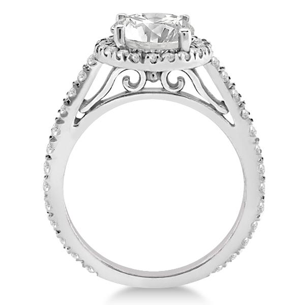 Diamond Bridal Halo Engagement Ring & Eternity Band in Palladium  (1.30ct)