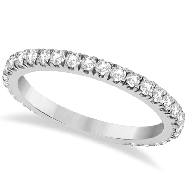 Round Diamond Eternity Wedding Ring 18K White Gold Diamond Band (0.58ct)