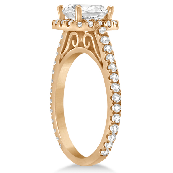 Cathedral Halo Cushion Cut Diamond Engagement Ring 14K Rose Gold (0.60ct)