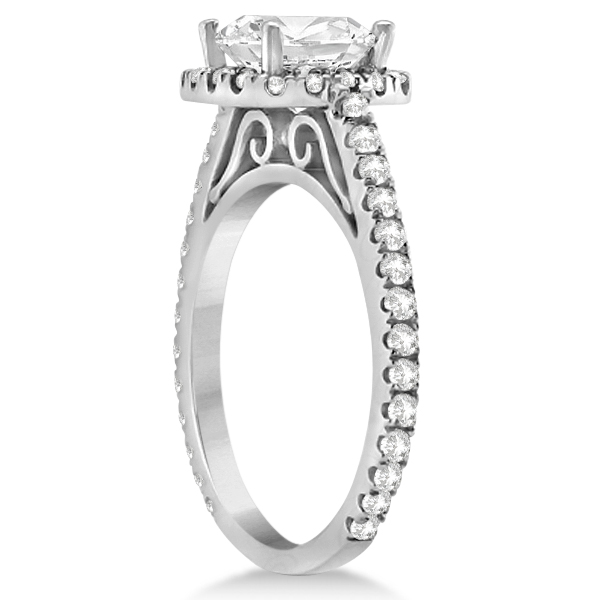 Cathedral Halo Cushion Cut Diamond Engagement Ring 18K White Gold (0.60ct)