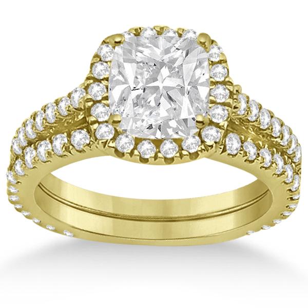 Halo Cushion Diamond Engagement Ring Bridal Set 18k Yellow Gold (1.07ct)