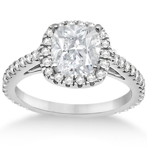 Halo Cushion Diamond Engagement Ring Bridal Set Platinum (1.07ct)