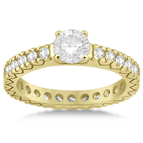 Eternity Diamond Engagement Ring Setting Womens 14K Yellow Gold 0.40ct