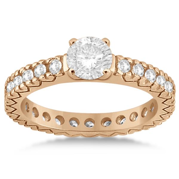 Eternity Diamond Engagement Ring Setting Womens 18K Rose Gold 0.40ct