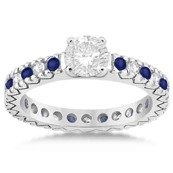 Diamond & Blue Sapphire Eternity Engagement Ring 14k White Gold (0.40ct)