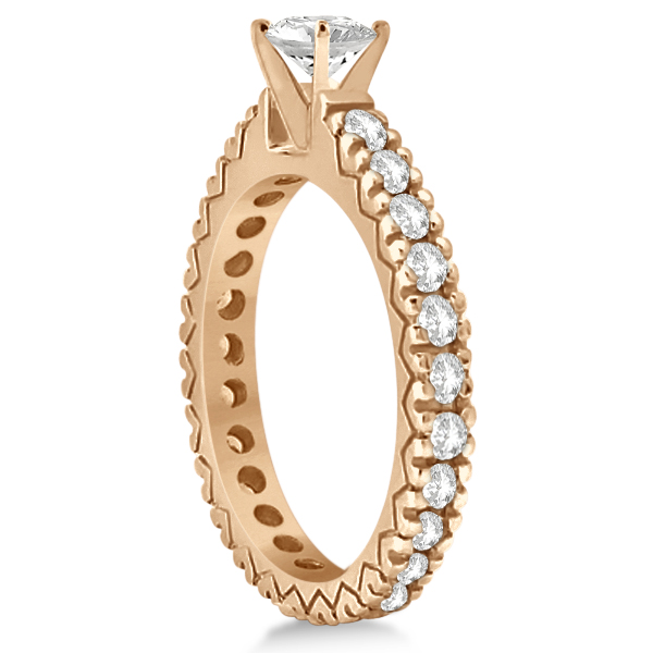 Diamond Eternity Bridal Ring Engagement Set in 14k Rose Gold 0.95ctw