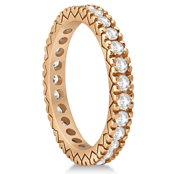 Diamond Eternity Bridal Ring Engagement Set in 18k Rose Gold 0.95ctw