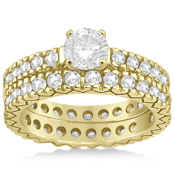 Diamond Eternity Bridal Ring Engagement Set in 18k Yellow Gold 0.95ctw