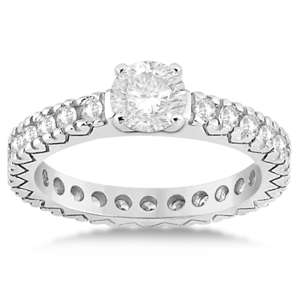 Diamond Eternity Bridal Ring Engagement Set Palladium 0.95ctw