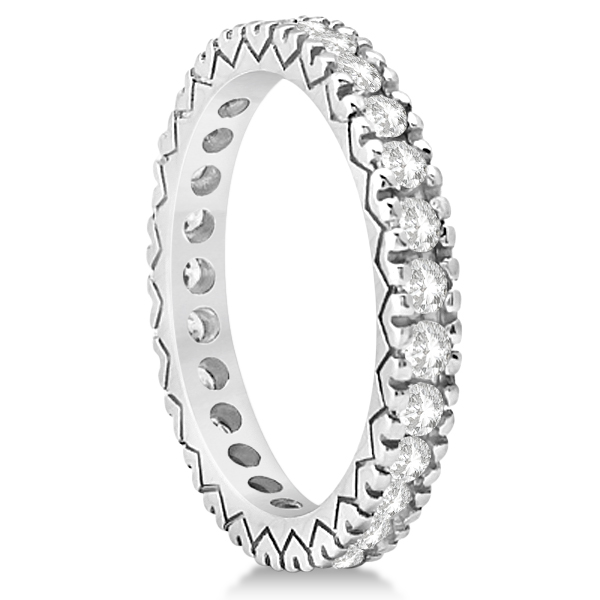 Women's Pave Set Diamond Eternity Wedding Band 18k White Gold 0.45ct