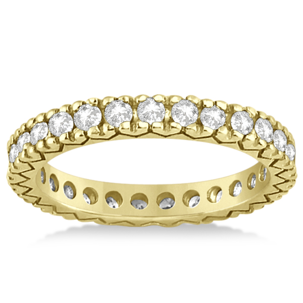 Women's Pave Set Diamond Eternity Wedding Band 18k Yellow Gold 0.45ct
