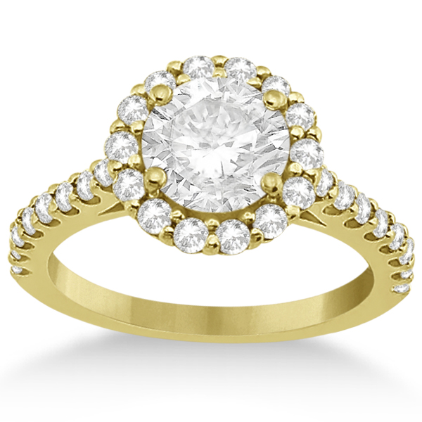 Round Pave Halo Diamond Engagement Ring Setting 14K Yellow Gold (0.74ct)