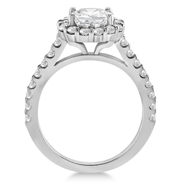 Round Pave Halo Diamond Engagement Ring Setting Platinum (0.74ct)