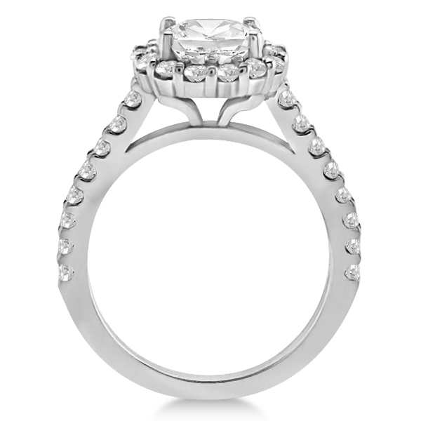 Halo Diamond Engagement Ring & Band Bridal Set 14K White Gold (1.12ct)