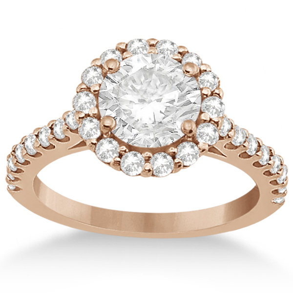 Halo Diamond Engagement Ring & Band Bridal Set 18K Rose Gold (1.12ct)
