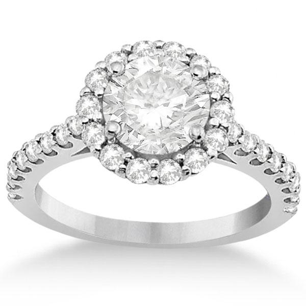 Halo Diamond Engagement Ring & Band Bridal Set 18K White Gold (1.12ct)