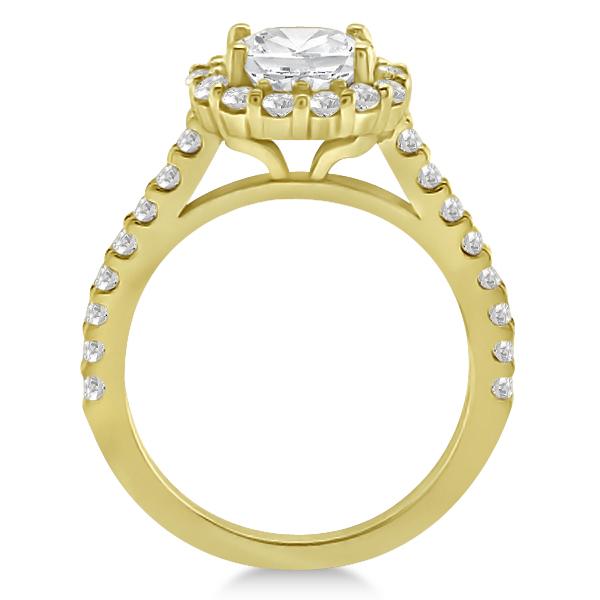 Halo Diamond Engagement Ring & Band Bridal Set 18K Yellow Gold (1.12ct)