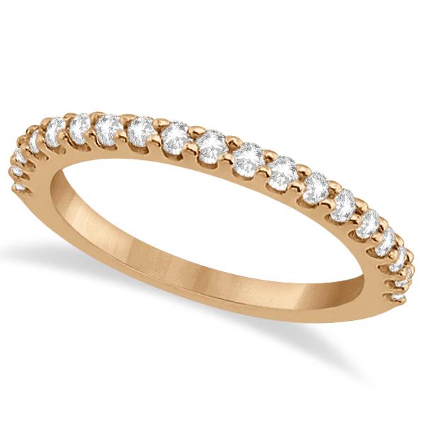 Diamond Semi Eternity Wedding Band Pave Set 14K Rose Gold (0.38ct)