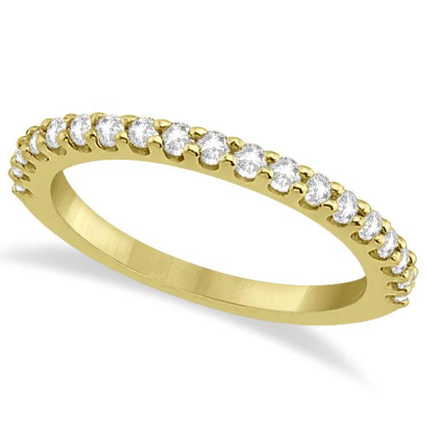 Diamond Semi Eternity Wedding Band Pave Set 14K Yellow Gold (0.38ct)